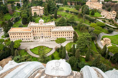 A view from the top of the dome of Saint Peter`s Basilica. The Vatican Garden Royalty Free Stock Photography