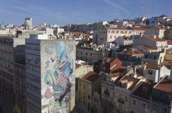 View from the top of downtown Lisbon Royalty Free Stock Photos