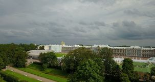 View with top from the drone on Katherine`s Palace hall in Tsarskoe Selo Pushkin, Russia.  stock video