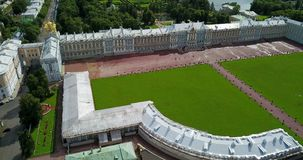 View with top from the drone on Katherine`s Palace hall in Tsarskoe Selo Pushkin, Russia. View with top from the drone on Katherine`s Palace hall in Tsarskoe stock video