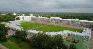 View with top from the drone on Katherine`s Palace hall in Tsarskoe Selo Pushkin, Russia.  stock footage