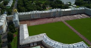 View with top from the drone on Katherine`s Palace hall in Tsarskoe Selo Pushkin, Russia. View with top from the drone on Katherine`s Palace hall in Tsarskoe stock footage