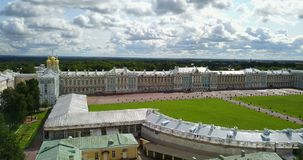 View with top from the drone on Katherine`s Palace hall in Tsarskoe Selo Pushkin, Russia. View with top from the drone on Katherine`s Palace hall in Tsarskoe stock video footage