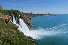 View from the Top of Duden Waterfall in Turkey at the Mediteranian Ocean Stock Photo
