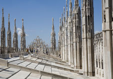 View on the top of Duomo di Milano Stock Photos