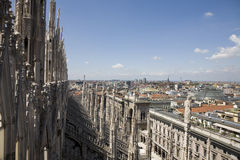 View from the top of Duomo di Milano Stock Images