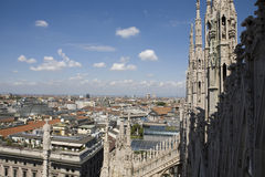 View from the top of Duomo di Milano Stock Photography
