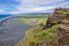 Cape Dyrholaey in Iceland. View from the top of Dyrholaey foreland located on the south coast of Iceland stock photography