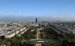 View from the top of the Eiffel Tower in Paris - hidden apartment at the top of the Eiffel Towe stock image