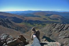 Peace at the top, Mt. Bierstadt, Colorado. View from the top of 14er Mt. Bierrstadt near Georgetown, Colorado stock image