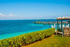 The view from the top Exotic Paradise. Tropical Resort. Caribbean sea Jetty near Cancun. Mexico beach tropical Royalty Free Stock Photo