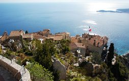 View from the top of the Eze garden on the village Stock Photos