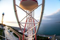 View from the top, from the Ferris wheel to the shore and the se. A Batumi, Georgia Stock Photos