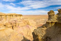 Flaming Cliffs Bayanzag Gobi Desert Mongolia. View from the top of the Flaming Cliffs of Bayanzag in southern Mongolia stock photo