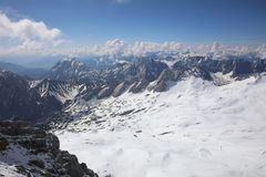 View from the Top of Germany, Zugspitze Mountain Royalty Free Stock Image