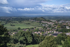 View from top of Glastonbury Tor overlooking Glastonbury town in Stock Photos