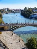 View from the top of the Golden Tower on the banks of the River Guadalquivir in Seville Spain. The Torre del Oro or the Tower of Gold is a dodecagonal military royalty free stock photos
