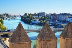 View from the top of the Golden Tower on the banks of the River Guadalquivir in Seville Spain. The Torre del Oro or the Tower of Gold is a dodecagonal military stock photography