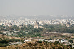 View from Golkonda Fort towards Seven Tombs. View from the top of Golkonda Fort looking towards the Islamic Qutb Shahi Tombs, known as Seven Tombs, in Hyderabad Royalty Free Stock Images