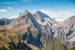 View of top of Grossglockner and the Pasterze Royalty Free Stock Photography