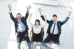 View from the top. happy employees in the workplace. Photo with copy space stock image