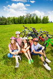 View from top of happy kids in helmets Royalty Free Stock Images