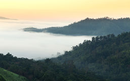 View on top of the hill during the misty sunrise at yun lai viewpoint, pai, thailand. Stock Photography