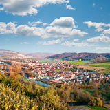 View over Saale river valley near Jena, Germany. View from the top of the hill into Saale river valley north of Jena, Thuringia, Germany, in early Autumn Stock Images