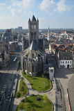 Saint Nicholas Cathedral Ghent. Impressive view from a the top of a church over Saint Nicholas church, in Ghent, Belgium Stock Photos