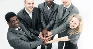 View from the top.international business team showing their uni royalty free stock photography