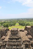 The view of top of Kailsa temple, Ancient Hindu stone carved temple, Cave No 16, Ellora, India royalty free stock image