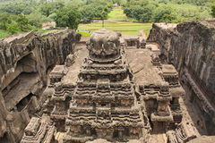 The view from the top of Kailsanath temple, Ancient Hindu stone carved temple, Cave No 16, Ellora, India royalty free stock images