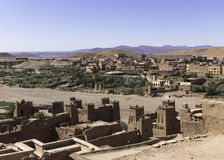 View from the top of the kasbah ait ben haddou. In the direction of village . Morocco Stock Images