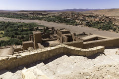 View from the top of the kasbah ait ben haddou. In the direction of visible after drying. Morocco Royalty Free Stock Images
