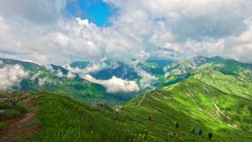 View from the top of Kasprowy wierch to the valley in the summer, Poland. Europe stock footage
