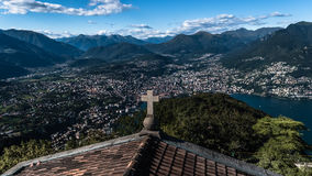 View at top of the lake of lugano. Beautiful panaromic view at top of the lake of lugano Stock Photos