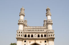 Charminar landmark, Hyderabad. View of the top of the landmark Charminar tower in Hyderabad, India.  The famous structure was built in medieval times as an Royalty Free Stock Image