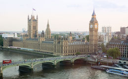 View from the top level of Big Ben in London - City of Westminster. Great Bell of the clock at the north end of the Palace of Westminster. Elizabeth Tower Stock Images