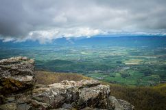 View from the top of Little Stony Man mountain in Shenandoah National Park on a foggy spring day.  royalty free stock photo