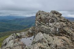 View from the top of Little Stony Man mountain in Shenandoah National Park on a foggy spring day.  stock images