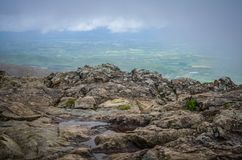 View from the top of Little Stony Man mountain in Shenandoah National Park on a foggy spring day.  stock image