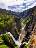 View from the top of Mabodalen of the famous Voringsfossen waterfall, in Hordaland, Norway. View from the top of Mabodalen of the famous Voringsfossen waterfall Royalty Free Stock Photo