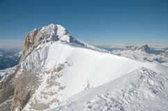View at the top of Marmolada. Dolomites, Italy. Snow and blue sky Stock Photo