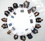 View from the top.meeting business partners for round - table. Photo with copy space royalty free stock photos