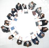 View from the top.meeting of shareholders of the company at the round - table. Royalty Free Stock Image