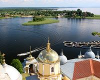 Nilova pustyn monastery, Seliger lake, Russia. View from the top of monastery belfry on the Seliger lake in Tver region, Russia Stock Photos