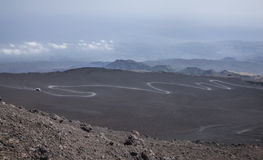 A view from the top of the Mount Etna Volcano. Royalty Free Stock Image