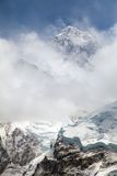 View of top of Mount Everest with clouds. Everest. View of top of Mount Everest with clouds from Kala Patthar way to Everest base camp, khumbu valley - Nepal stock image