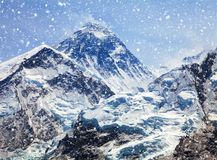 View of top of Mount Everest with clouds and snowfall. From Kala Patthar way to mount Everest base camp, khumbu valley, nepalese himalayas - Nepal Royalty Free Stock Images