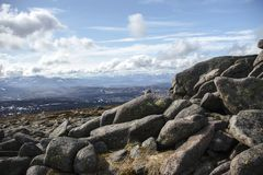 View from Mount Keen summit. Cairngorm Mountains, Aberdeenshire, Scotland. A view from the top of Mount Keen. Aberdeenshire, Cairngorms National Park, Scotland stock photography